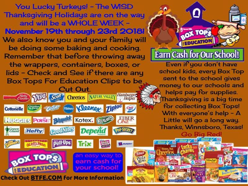 WISD Thanksgiving Week and Box Tops AD - 2018