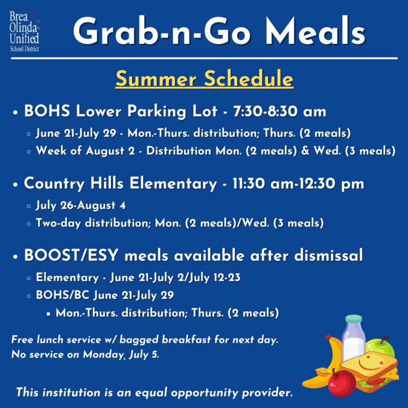 Grab-n-Go Meal Schedule