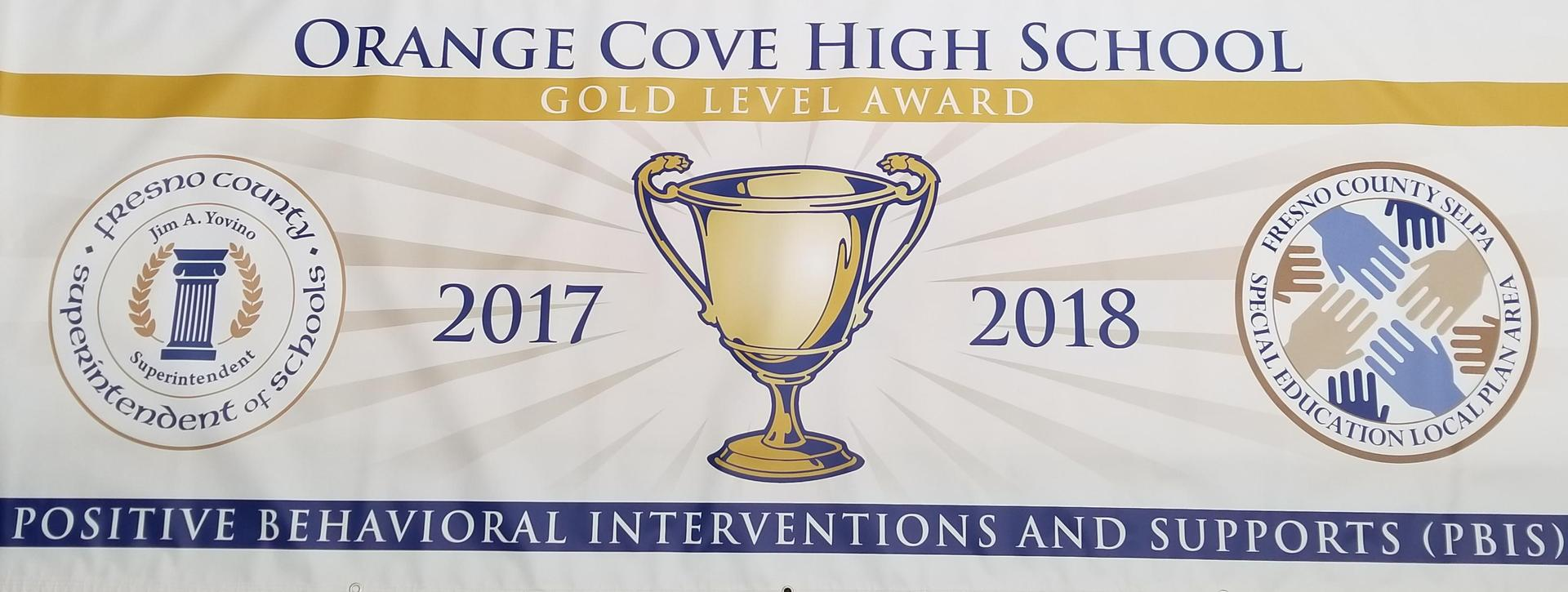 Orange Cove High Gold Level Award