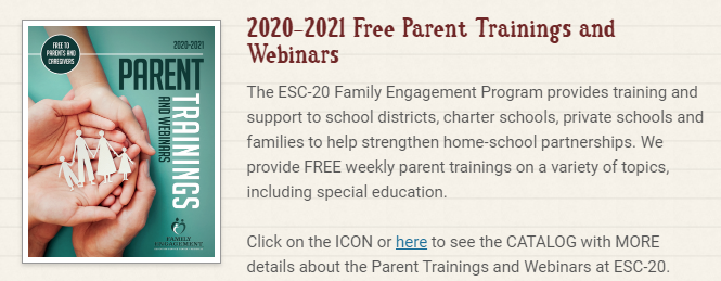 Region 20 Parent Training & Webinars