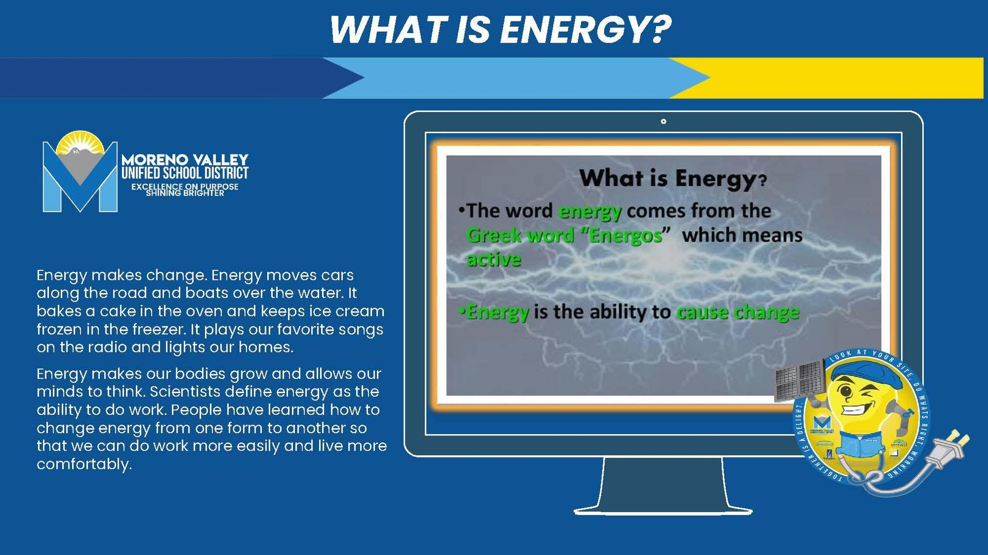 Slide showing definition of energy