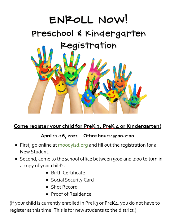 PreK and Kindergarten Registration for the 2021-2022 school year! Image