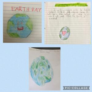 3 Earth drawings collage