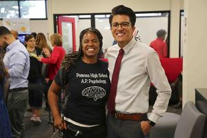 District administrators, school staff and students set the atmosphere at the Pomona High School Library Grand Opening. #proud2bepusd