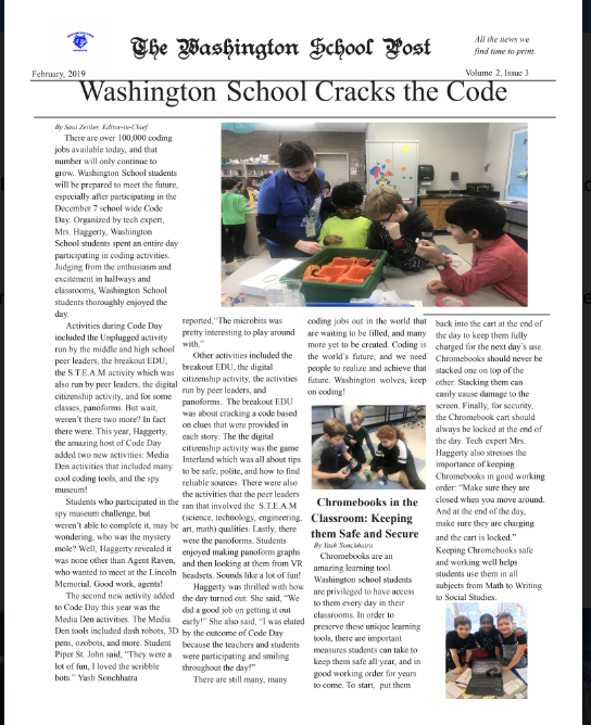 Screenshot of the School Newspaper