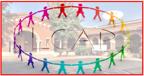 Logo of LCAP Kids in a circle with the District Office picture in the Background