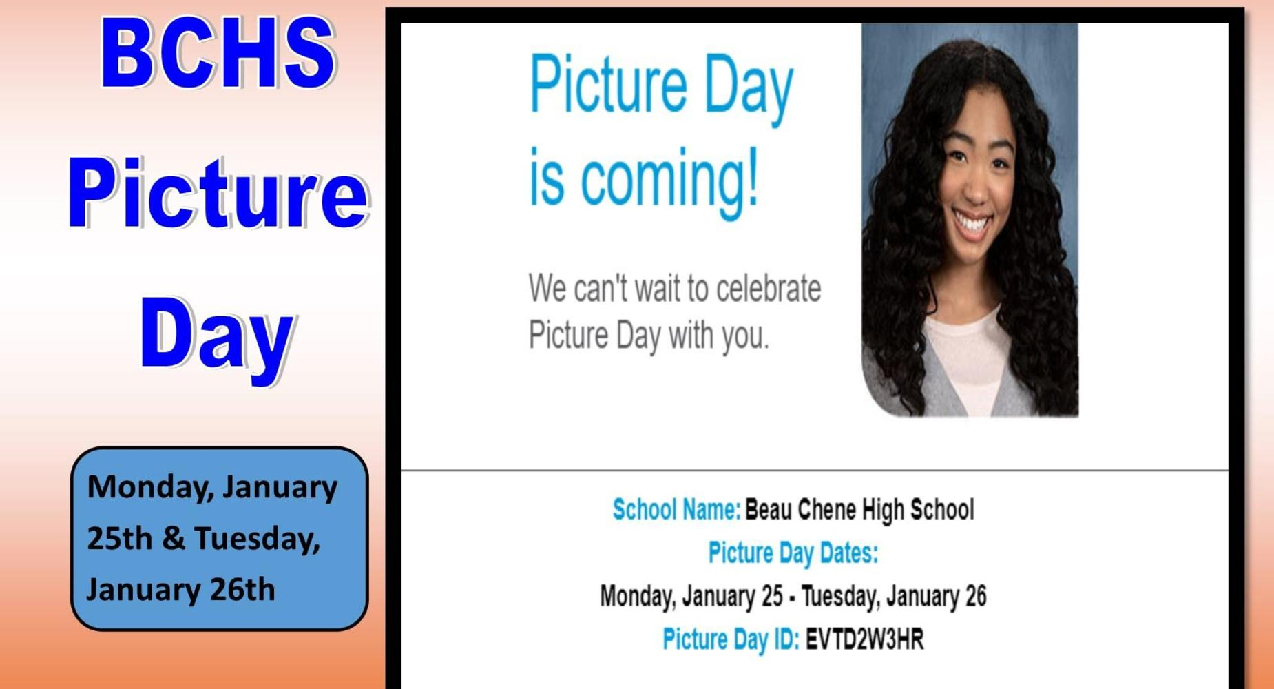 Picture Day is coming:  January 25 & 26, 2021