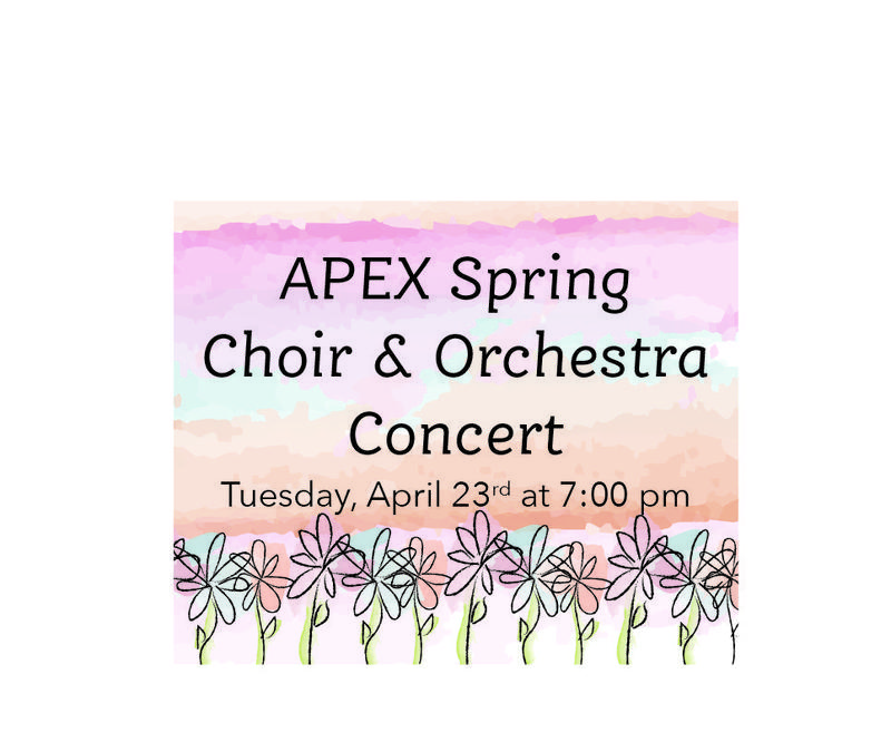spring colors and flowers advertising the spring orchestra and choir concert