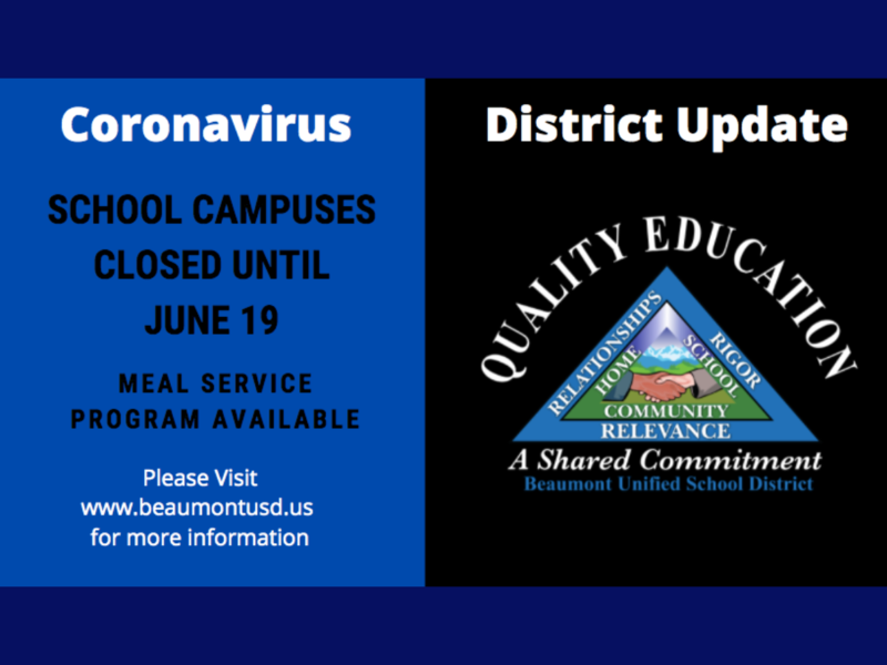 Banner with Information on Coronvirus School Facility Closure