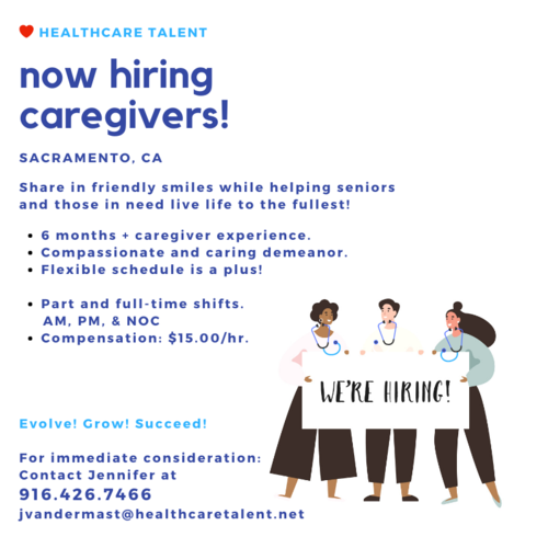 Looking for a job while you are in school? Do you have empathy for those who are not able to care for themselves? Are you organized? We have a employment partner that is in need of Caregivers in the Sacramento area! $15/hr with benefits if you are full-time! Part-time shifts available!    No resume? Let us help you! Please reach out to us workforcesolutions@hccts.org to get your resume started!