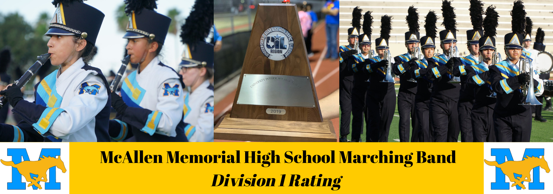 memorial high school band playing instruments, award in center