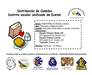 EUSD Meal Distribution- spanish