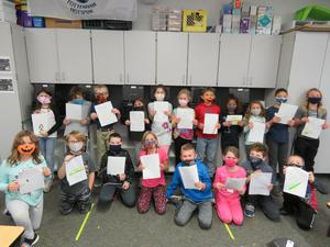 Mr. Sleeman's third-grade class has letters ready to send to pen pals in Texas.