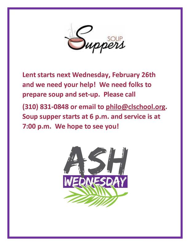 Ash Wednesday Service and Soup Supper- February 26 Featured Photo
