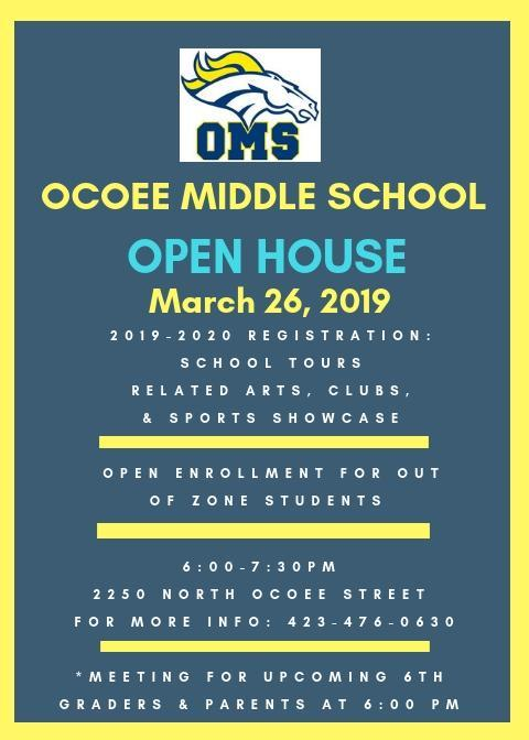 OMS Open House/Registration March 26, 2019 from 6-7:30 P