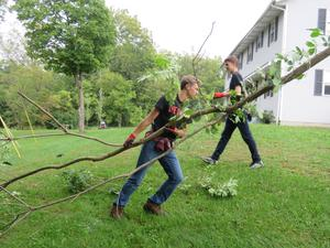 Clean up along the Thornapple Riverbank was one of the projects for TKHS students.