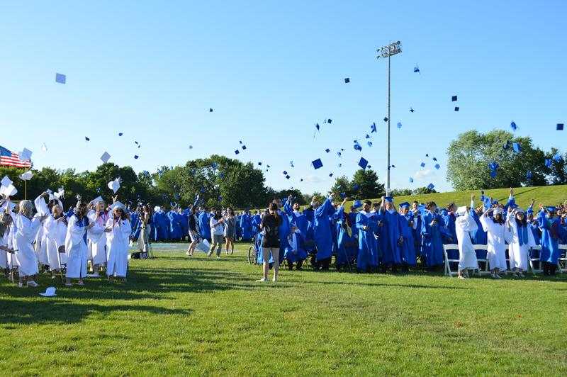 Graduates throw their caps in the air.