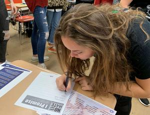 "Students at WHS sign the ""No Place for Hate"" pledge as part of the national program by the same name that works with schools to combat bias and hate."