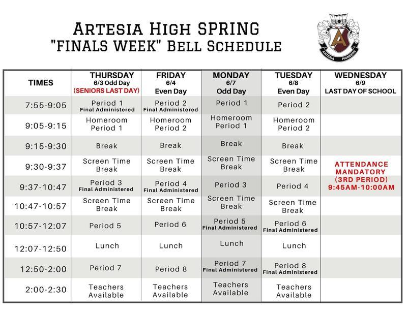Artesia High Spring Semester Finals Schedule