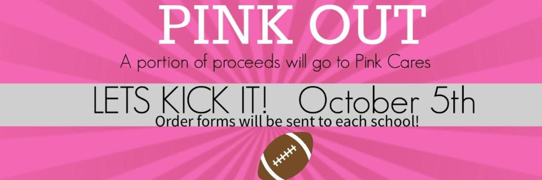 Pink Out; Order your t-shirt for $12; download the order form below; Pink Out Game is on October 5