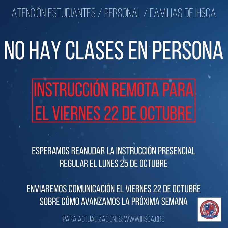 NO HAY INSTRUCCION EN PERSONA VIERNES 22 DE OCTUBRE Featured Photo