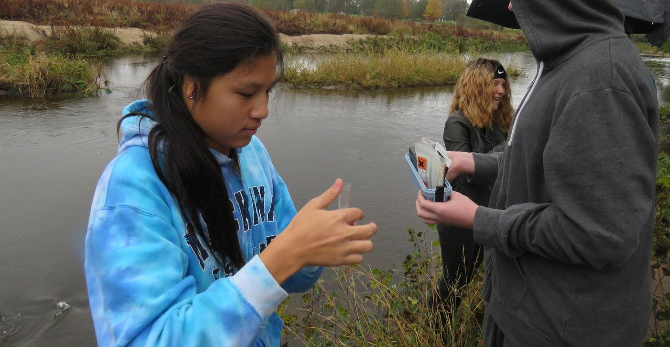 TKHS students take water samples from the Irving Dam and compare results with previous years.