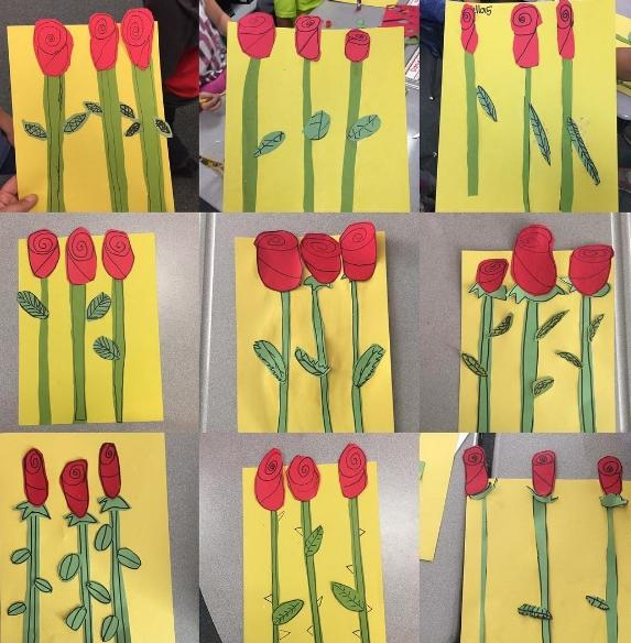 Mother's Day art created by students. Red Roses with green stems on a yellow background.