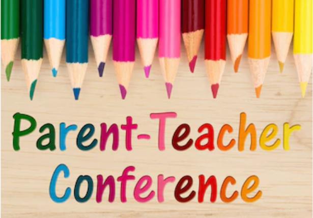 colored pencils with the words parent - teacher conferences.