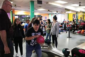 Students and teachers at the Unified Bowling event at Incredibowl.
