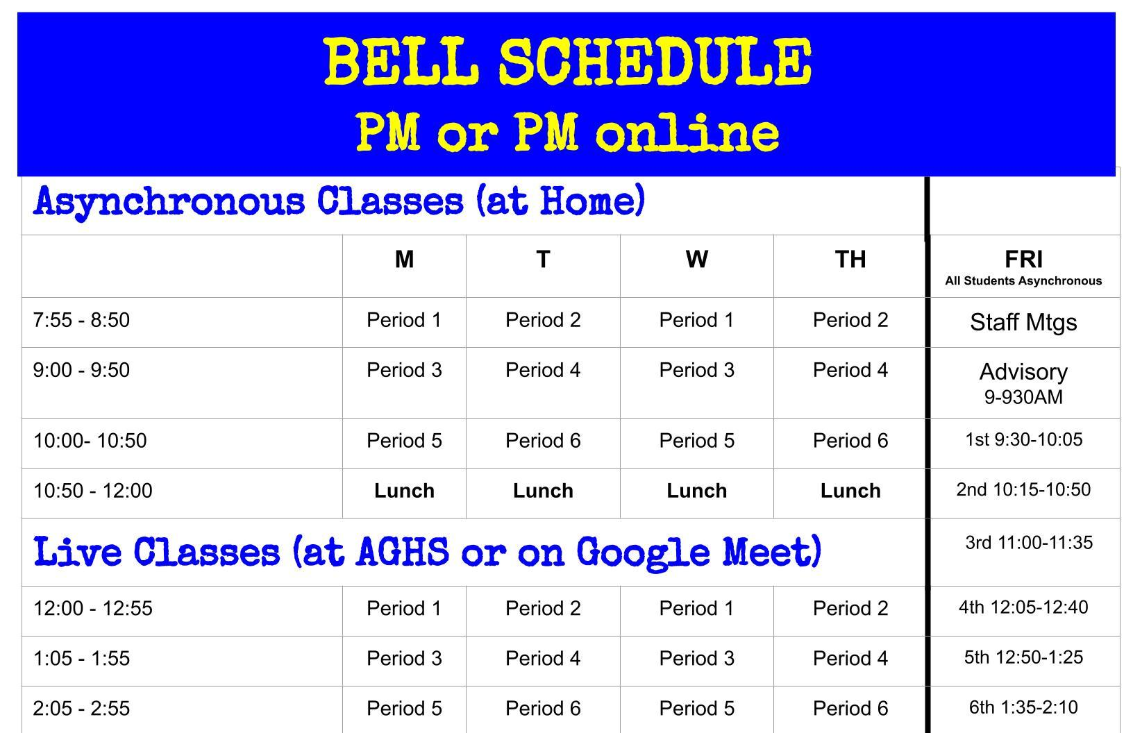 PM Online and In Person Bell Schedule
