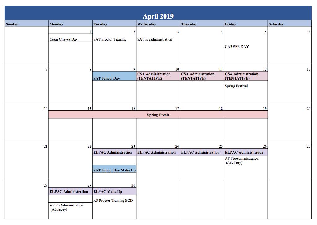 Testing Calendar 2