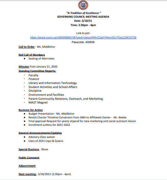 Governing Council Meeting Agenda for 2/18/2021 Thumbnail Image