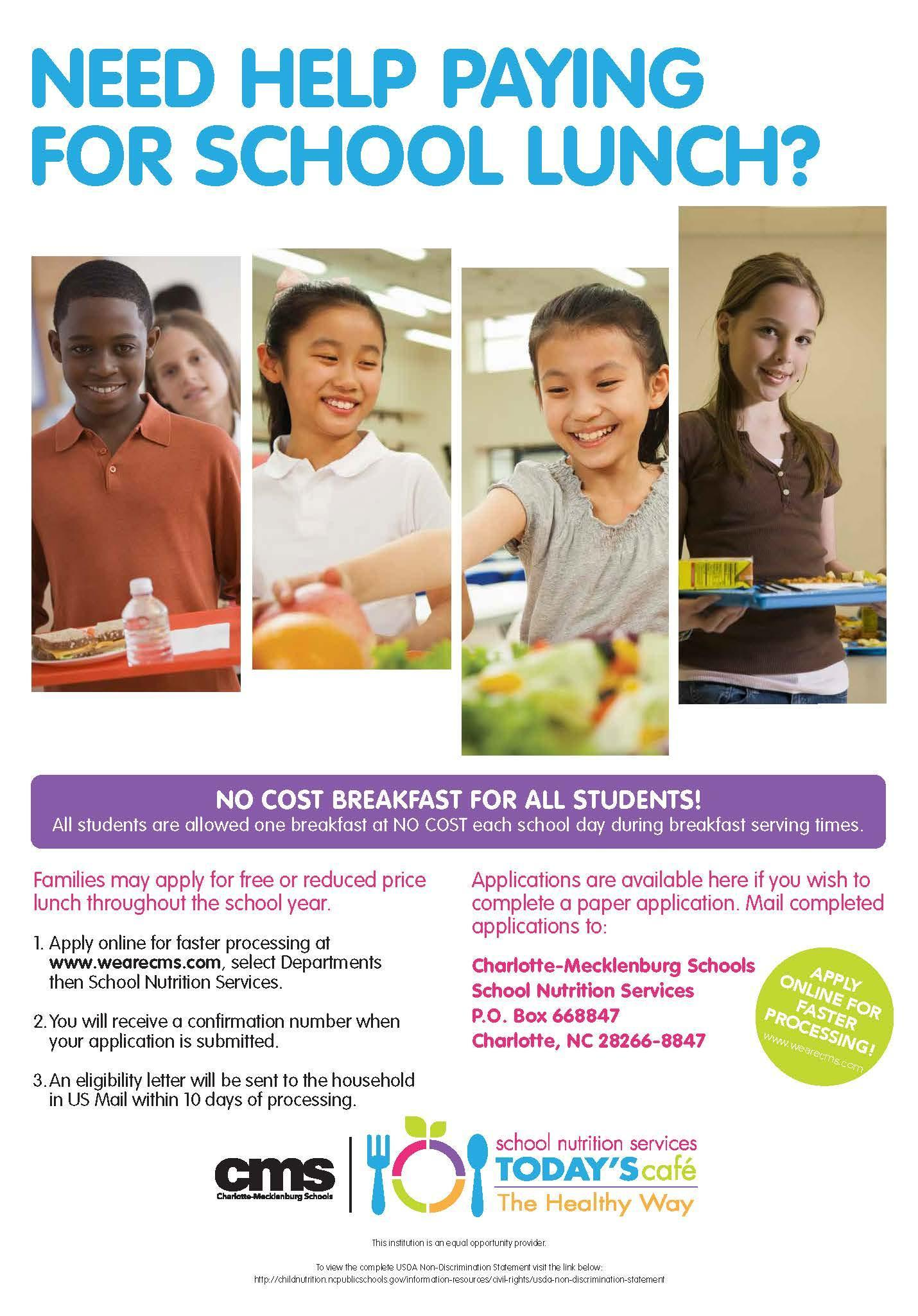 Need Help Paying for School Lunch? Poster
