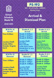Arrival and Dismissal Schedule in English - colorful