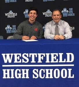 Westfield High School senior Matthew McIntyre signs Letter of Intent to play baseball at Rutgers University next fall.  Pictured here with his father, Frank McIntyre.
