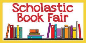 the word scholastic bookfair in red with cartoon books in the background