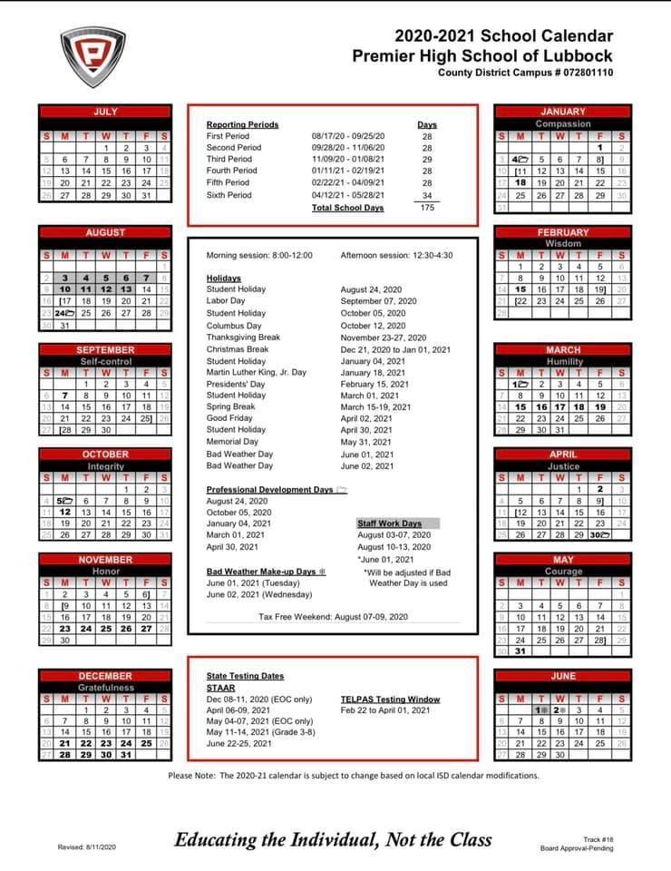 PHS Lubbock Calendar
