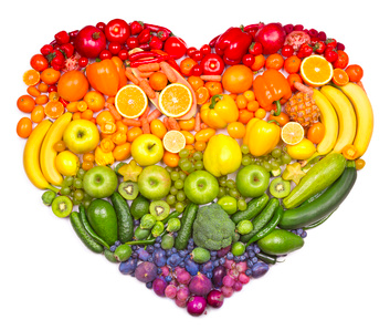 Heart made from fruits and vegetables