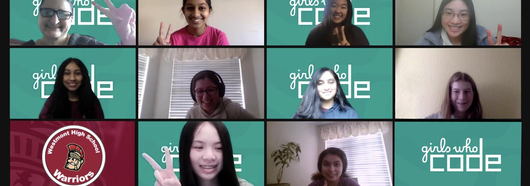 Screenshot of the members of the Girls Who Code Club zoom meeting