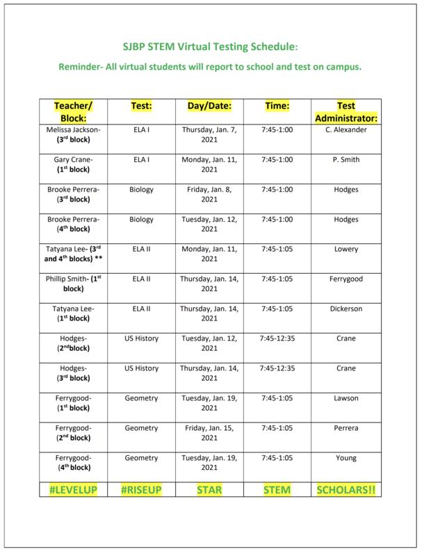 SJBP STEM Virtual LEAP Testing Schedule Thumbnail Image