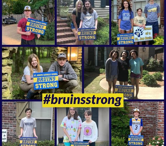 collage of students posing by Bruins Strong yard signs