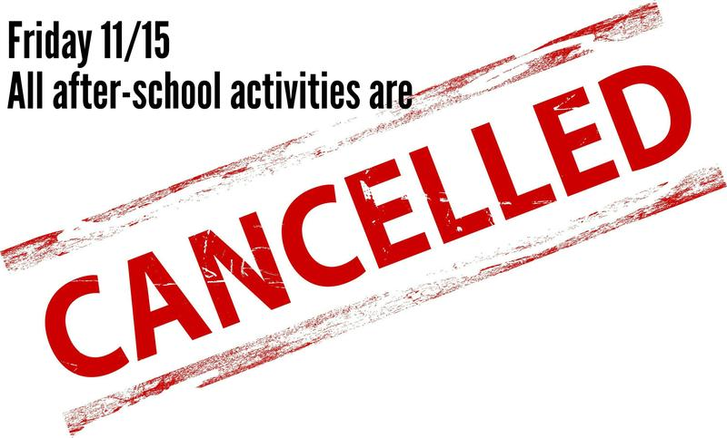 Cancelled: ALL after-school activities Featured Photo