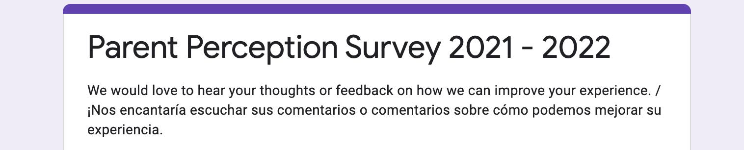 Parent Perception Survey 2021 - 2022 Image
