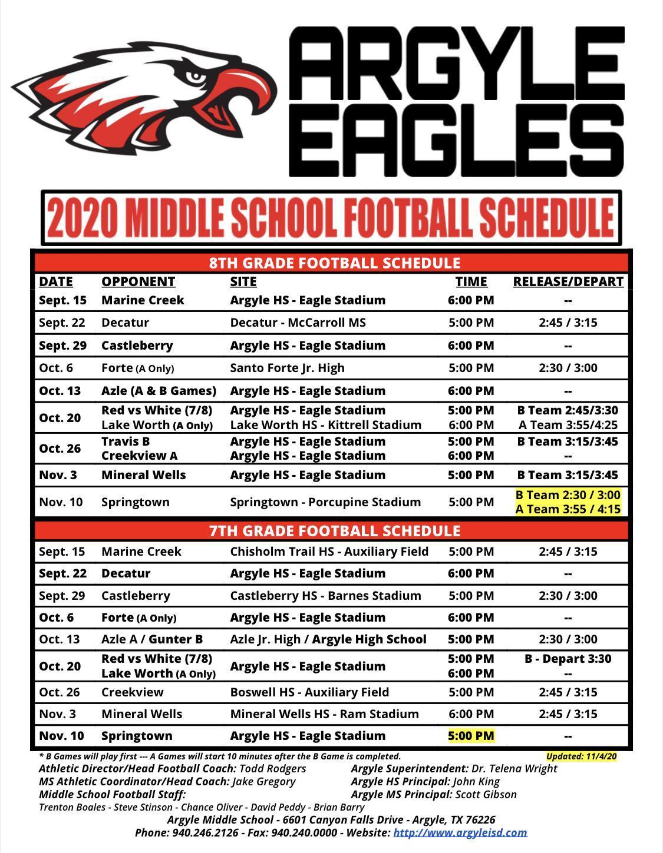 2020 Argyle MS Football Schedule - Updated 11/4/20