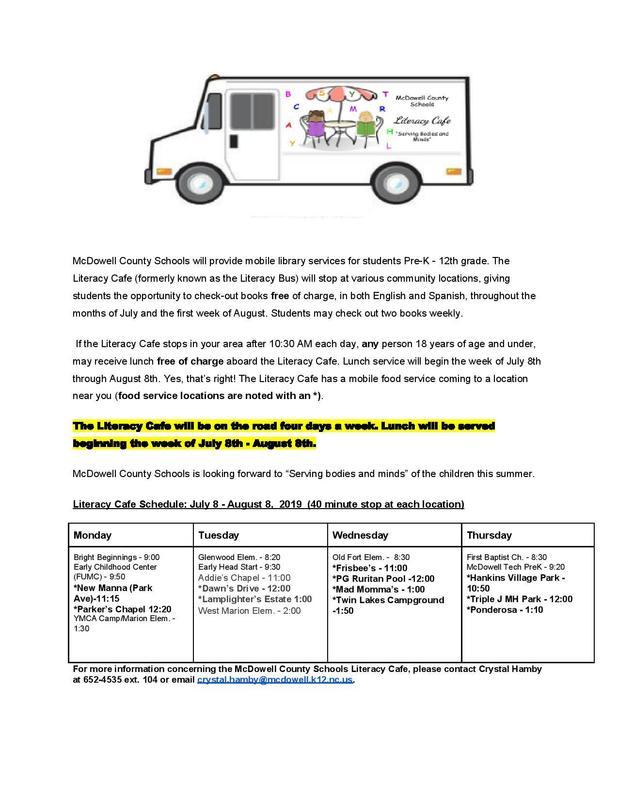 Literacy Cafe information