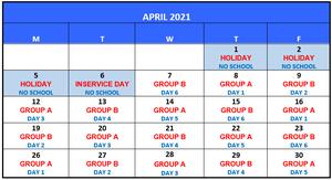 APRIL 2021 A / B CALENDAR
