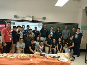 ms benites class with emerson admin celebrating hispanic heritage