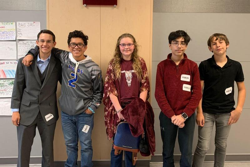 Frenship students pose between UIL competitions at Lubbock-Cooper