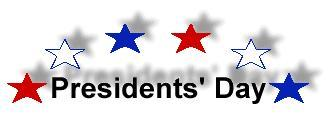 Presidents' Day Wording with Red and Blue Stars