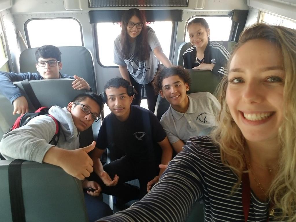 UHMS Regatta team on the bus with ms. velasquez
